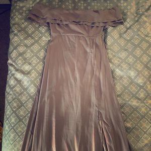 Grey Off Shoulder Bridesmaids Dress